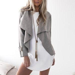 Grey felt drape coat/sweater cardigan, M